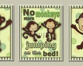Items Similar To Set Of 3 Monkeys Jumping On The Bed