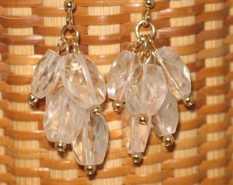 Crystal Quartz & Goldfill Dangle Earrings