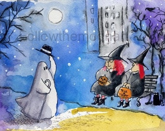 City Witches & a Friendly Ghost Black Crow Full Moon  Halloween Quality Art Print