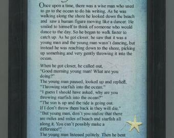 """Inspirational  Starfish Poem -  Framed 5"""" x 7"""" Nautical Ocean Sea- """"It made a difference for that one."""""""