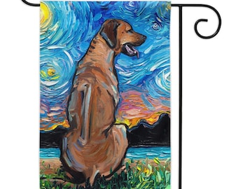 Rhodesian Ridgeback Starry Night Yard Flags Double Sided Printing Art By Aja Outdoor Decor Lawn Garden Decoration