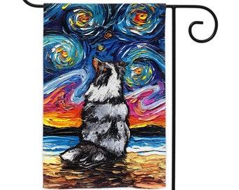 Merle Shetland Sheepdog Starry Night Yard Flags Double Sided Printing Art By Aja Outdoor Decor Lawn Garden Decoration Sheltie