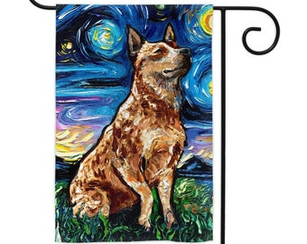 Red Heeler Starry Night Cattle Dog Yard Flags Double Sided Printing Art By Aja Outdoor Decor Lawn Garden Decoration