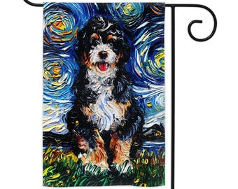 Bernedoodle Starry Night Dog Yard Flags Double Sided Printing Art By Aja Outdoor Decor Lawn Garden Decoration cute animal pet home artwork
