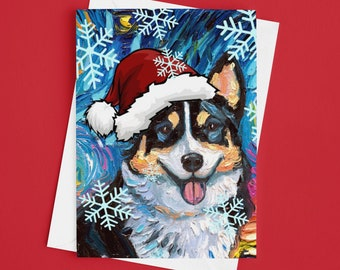 Tri Color Pembroke Welsh Corgi Starry Night Dog Christmas Folded Greeting Cards 4.25x5.5 Inches With Envelopes Holiday Stationary