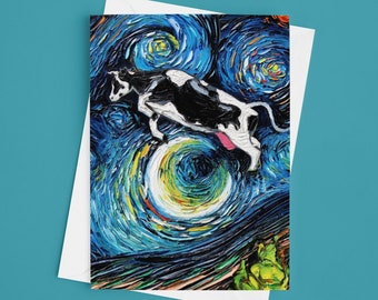 Folded Blank Greeting Cards - The Cow Jumped Over The Moon Starry Night 4.25x5.5 Inches With Envelopes Stationary Packs Of 1,5,10, Or 25