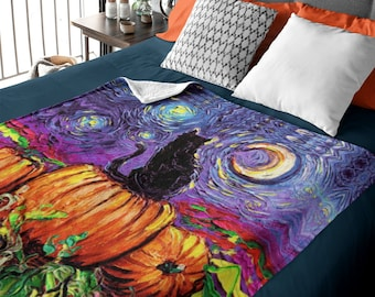 Gorgeous Black Cat and Pumpkin Patch Starry Hallow's Eve 60x50 inch Autumn Throw Blanket Fall Halloween decor Art by Aja
