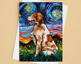 Folded Blank Greeting Cards - Brittany Spaniel Starry Night Dog 4.25x5.5 Inches With Envelopes Stationary Packs Of 1,5,10, Or 25 (Copy)