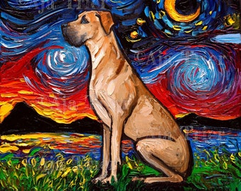 Fawn Great Dane Night Art CANVAS print Starry Night Dog Ready to Hang wall decor artwork by Aja cute puppy decor