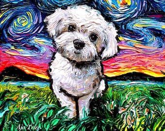 Maltipoo Art Starry Night Art Print dog lover gift cute art by Aja choose size and type of paper Maltese Poodle Mix