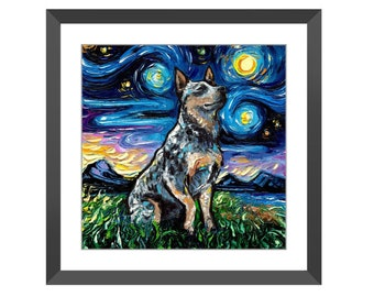 Framed Wall Art - Blue Heeler Cattle Dog Starry Night Print Ready To Hang, High Quality Wall Artwork Home Decor By Aja