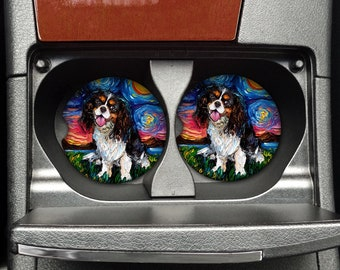 Sandstone Car Coaster - Tri Color King Charles Cavalier Spaniel Starry Night Dog Artwork by Aja Free ship in US, 25% off code or 2 or more!