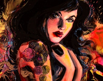 Figure Painting - Female Figure - Contemporary Mixed Media Art - by Aja Radioactive 18x24 inches on cradled wooden panel