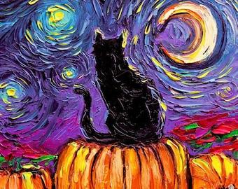 Starry Hallows' Eve spooky 16x20 inch print Starry Night black cat pumpkin patch autumn art by Aja van Gogh impressionism fall artwork