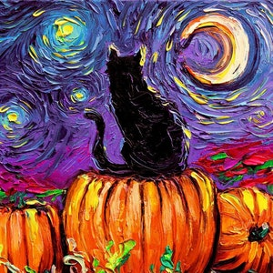 Halloween Art Starry Night Dark Print Starry Hallows Eve Etsy