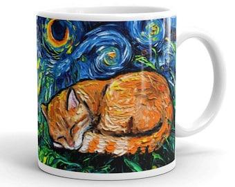 Sleeping Orange Tabby Cat Coffee Mug Starry Night Cat Lover Art by Aja ceramic coffee cup artwork home goods