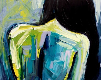 Huge painting 36x48 inches Abstract nude painting figure oil on huge canvas by Aja Melancholia