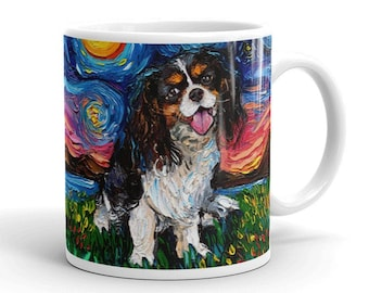 Tri Color Cavalier King Charles Spaniel Night Coffee Mug Dog Lover Starry Night Art by Aja ceramic cup cute pup choose size 11 or 15 oz