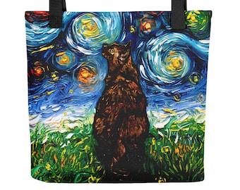 Tortoiseshell Cat Starry Night Tote bag handbag artwork by Aja cat lover gift gym bag grocery bag carry all