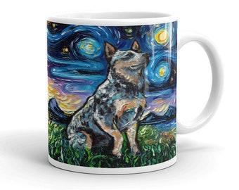 Blue Heeler Night Coffee Mug Dog Lover Starry Night Art by Aja ceramic cup Australian Cattle Dog