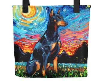 Doberman Pinscher Dog Starry Night Tote bag handbag artwork by Aja dog lover gift