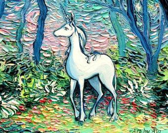 Last Unicorn Art CANVAS print Starry Night In The Shadow Of The Forest Aja 8x8 10x10 12x12 16x16 20x20 24x24 30x30 Fantasy Art Home Decor