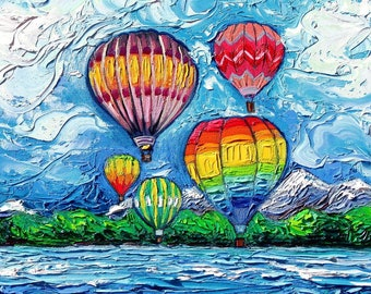 Hot Air Balloon Wall Art Print van Gogh Colorful Happy Landscape Up In The Air by Aja 8x8, 10x10, 12x12, 20x20, and 24x24 choose size