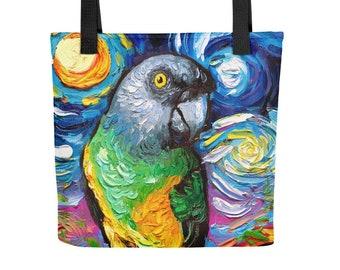 Senegal Parrot Bird Starry Night Tote bag handbag artwork by Aja Tropical Colorful purse gym bag overnight bag