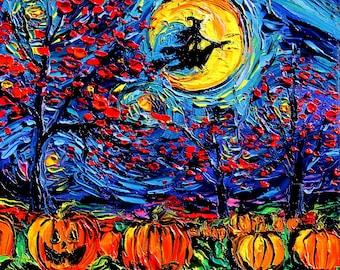 Starry Halloween - spooky Witch Jack O Lantern pumpkin print Starry Night by Aja 8x8, 10x10, 12x12, 20x20, and 24x24 choose