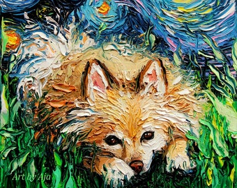 Pomeranian Art - Starry Night Dog Print Wall Decor by Aja colorful cute sleepy Pom dog canine choose size and type of paper