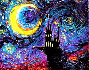 Haunted Castle Art - Starry Night Dark print The Haunting of van Gogh by Aja 8x8, 10x10, 12x12, 20x20, and 24x24 inches choose