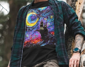 Shirt - Haunted Mansion Starry Night Dracula Castle Short-Sleeve Unisex T-Shirt Art by Aja Gildan Soft top clothing Halloween Goth Apparel