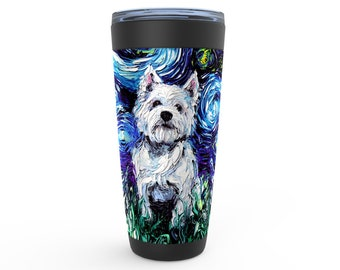 Westie Starry Night Dog Viking Tumbler Insulated Stainless Steel Drinkware Art By Aja Travel Mug West Highland Terrier