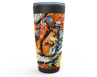 Squirreling Away Autumn Squirrel Viking Tumbler Insulated Stainless Steel Drinkware Fall Trees Animal Art By Aja Travel Mug