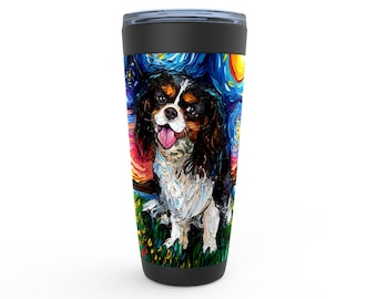 Tri Color Cavalier King Charles Spaniel Starry Night Dog Viking Tumbler Insulated Stainless Steel Drinkware Art By Aja Travel Mug