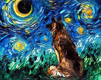 ad1347ad1626 German Shepherd Starry Night dog Art CANVAS print by Aja 8x8, 10x10, 12x12,  16x16, 20x20, 24x24, 30x30 choose canine cute pup. SagittariusGallery. 5 out  of ...
