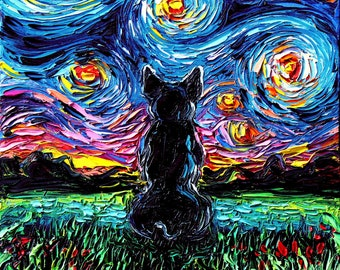 155568c98f1a3 French Bulldog Art Starry Night Art Print dog lover gift cute art by Aja  8x8