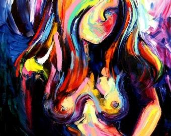 Amazon.com: Blue Abstract Nude Art Print Femme 101