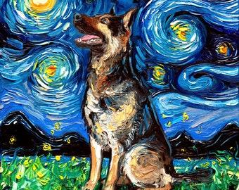 9d24af6851d2 German Shepherd Profile Starry Night dog Art CANVAS print by Aja 8x8,  10x10, 12x12, 16x16, 20x20, 24x24, 30x30 choose canine cute pup