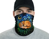 Starry Night Orange Tabby Cat Abstract Face Mask, Face Shield Washable Reusable Mask Neck Gaiter Art by Aja kitty striped cat kitty