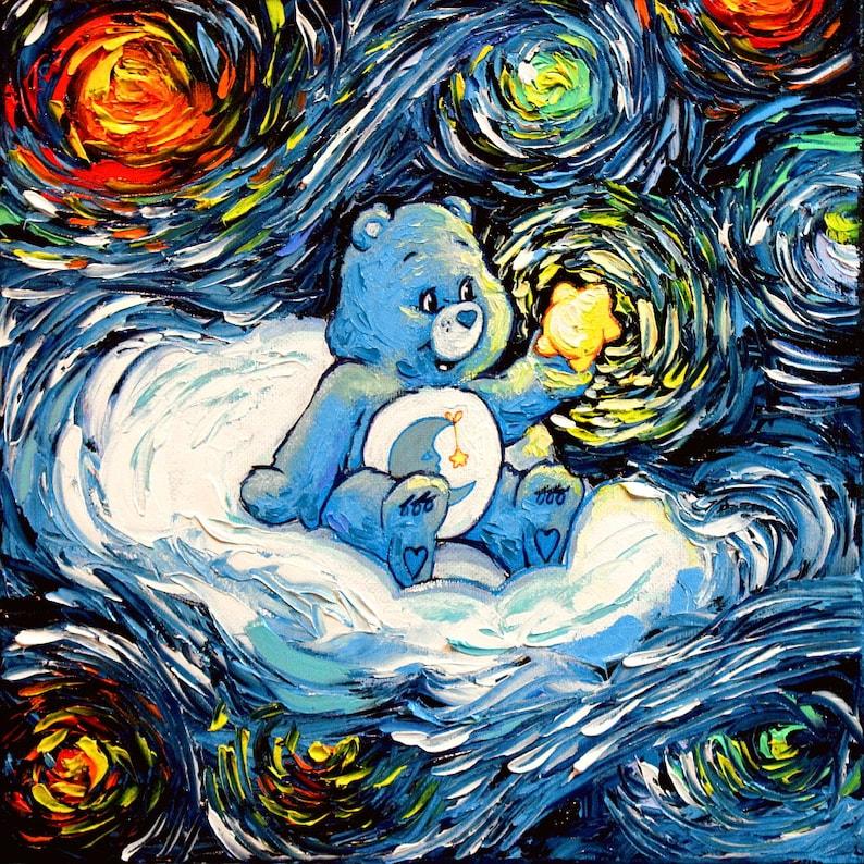 Wall Art Print Bedtime Care Bear Starry Night Nursery Baby Room Home Decor Aja