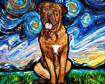 Dogue de Bordeaux Art CANVAS print Starry Night Ready to Hang wall decor artwork display by Aja animal home