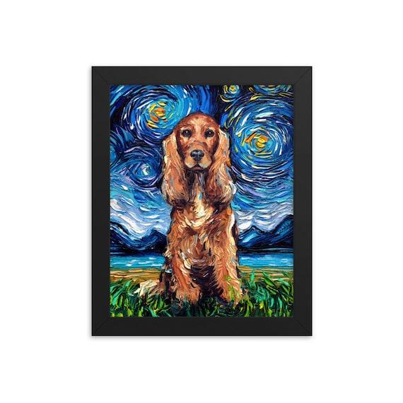 Cocker Spaniel Art Print Dog Starry Night van Gogh Decor by Aja