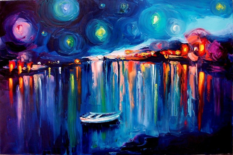 Midnight Harbor XXII an abstract landscape with boats on stretched canvas print by Aja 24x36 inches