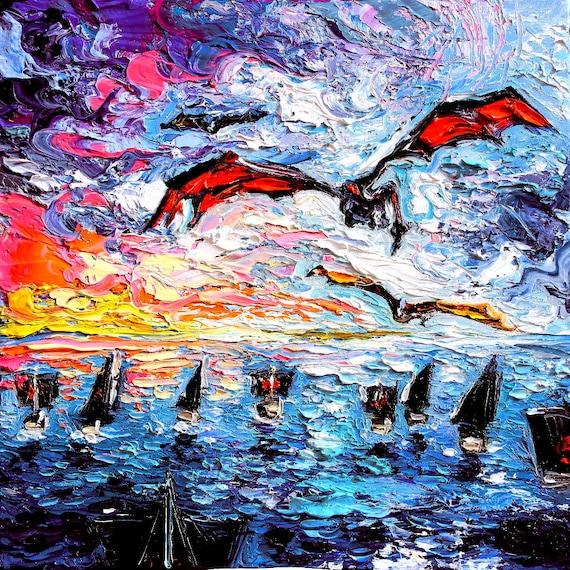 Flying Dragon Silhouette Smaug Fantasy Colorful Wall Art Print Home Decor By Aja
