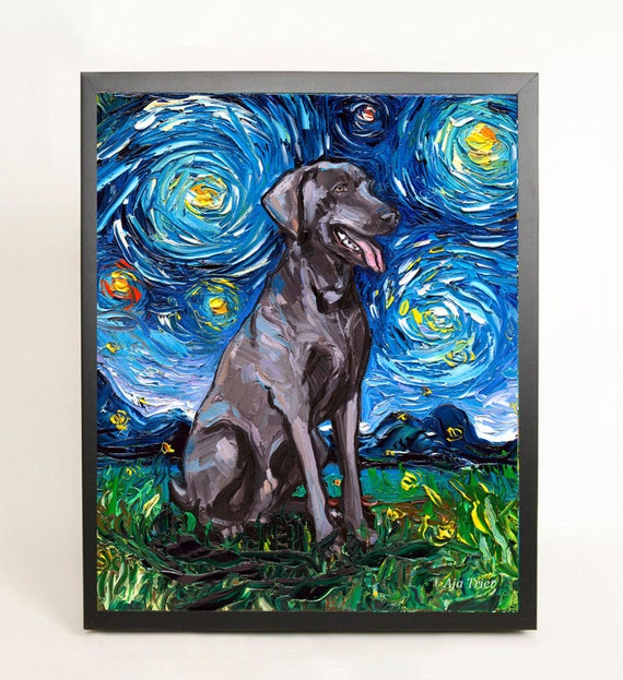 WEIMARANER DOG AT WORK LOVELY PRINT MOUNTED READY TO FRAME