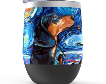 Black And Tan Dachshund Starry Night Dog Stemless Wine Tumblers Cup With Lid Unique Gift Barware Wine Glass