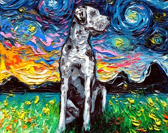 Merle Great Dane Art Starry Night Art Print dog art by Aja choose size and type of paper pet owner pup artwork