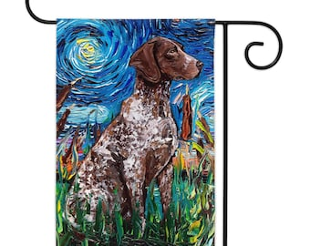German Pointer Starry Night Yard Flags Double Sided Printing Art By Aja Outdoor Decor Lawn Garden Decoration