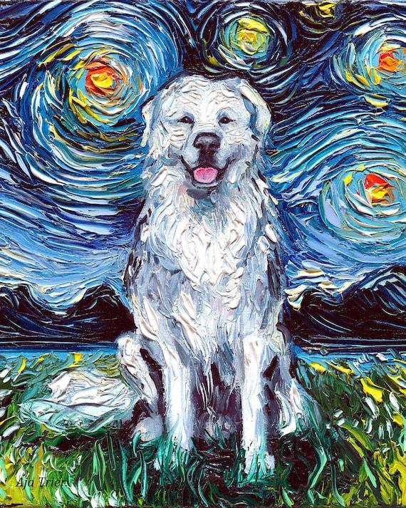 Great Pyrenees Dog Starry Night Tote bag handbag artwork by Aja fluffy white dog lover gift